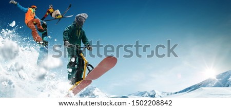 Skiing. Snow scoot. Snowboarding.  Extreme winter sports. #1502208842