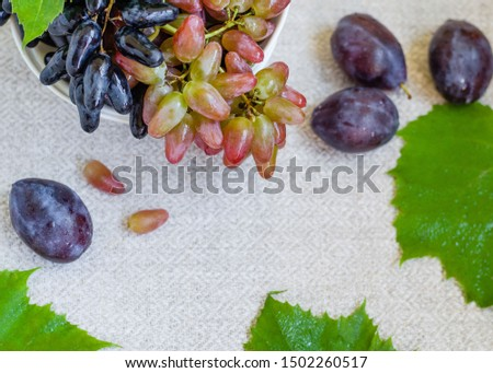Autumn composition. Grape and plums on the white bowl #1502260517