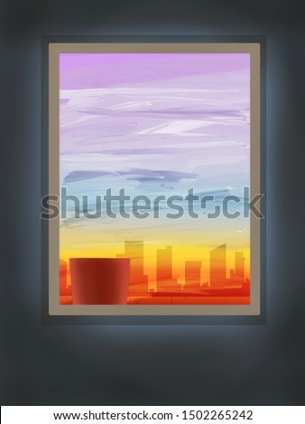 Illustration of evening time. The illustration has a view of evening time will buildings from a window.  #1502265242