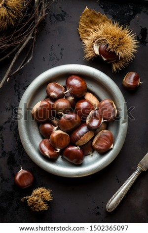Edible chestnuts in a tin bowl on dark rustic background with a knife and chestnuts in a shell. Overhead view, flat lay #1502365097