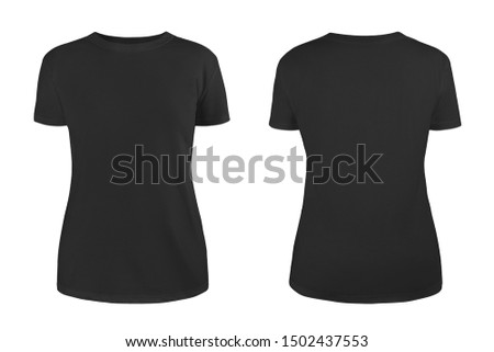Women's black blank T-shirt template,from two sides, natural shape on invisible mannequin, for your design mockup for print, isolated on white background. #1502437553