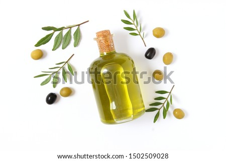 olive oil in a bottle on a white background top view.  #1502509028