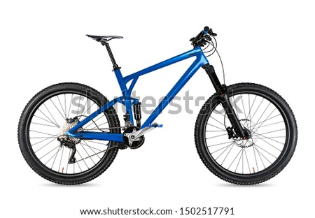 blue enduro carbon all mountain bike with full supsension and aluminum wheels. fully mountainbike for offroad bicycle extreme sport isolated on white background #1502517791