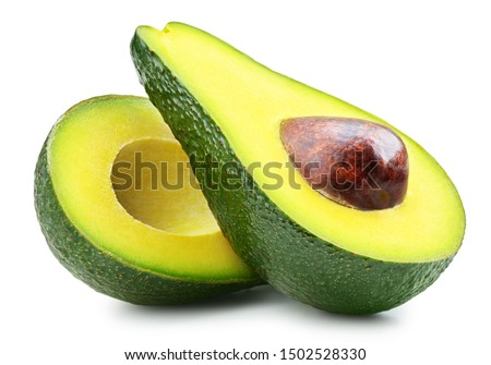 Half of fresh avocado isolated on white. Ripe fresh green avocado Clipping Path #1502528330