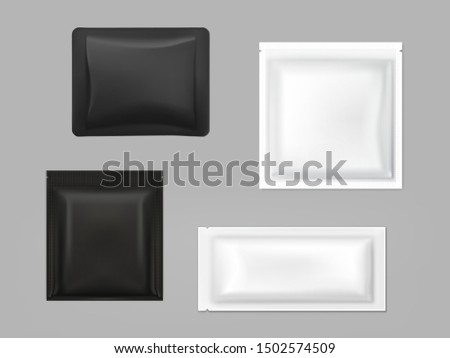 Blank white, black plastic, foil or polythene sachets for wet wipes, sauce or seasonings, shampoo samples isolated, 3d realistic vector illustration set. Food, cosmetics product packaging template #1502574509