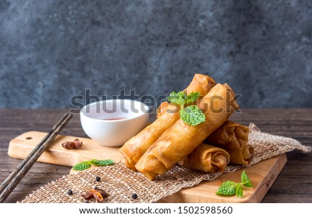 deep fried spring rolls, Por Pieer Tod or Fried spring rolls (Thai Spring Roll) Snacks and snacks that are popular with Thai and Chinese people. #1502598560