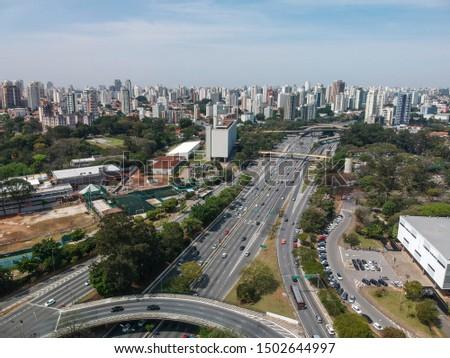 Aerial view of 23 de Maio Avenue, important avenue in Sao Paulo, Brazil #1502644997