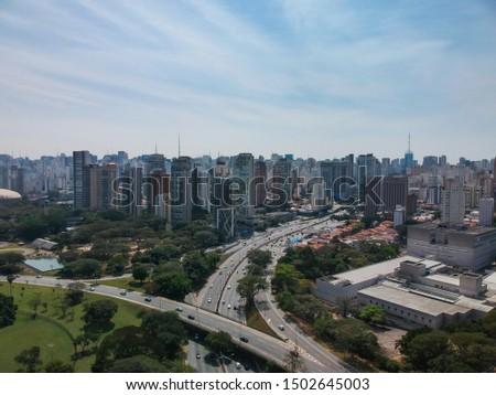 Aerial view of 23 de Maio Avenue, important avenue in Sao Paulo, Brazil #1502645003