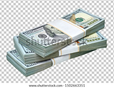 New design US Dollar bills bundles stack on checkered background including clipping path.