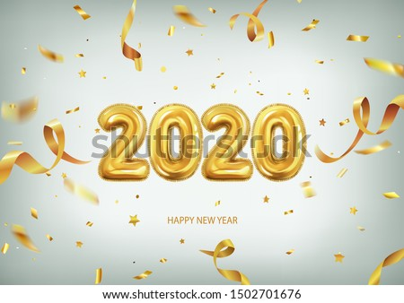 3d realistic isolated vector with golden gel balls arranged as a number two thousand twenty, 2020, New Year's balloons with tinsel to decorate your design, christmas, ads #1502701676