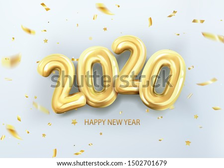 3d realistic isolated vector with gold gel balls as numbers two thousand and twenty, 2020, New Year's balloons with tinsel to decorate your design, Christmas, Thanksgiving Day, advertising #1502701679