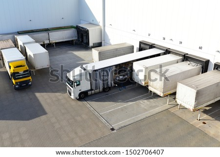 loading of lorries at the warehouse of a freight forwarding company  #1502706407
