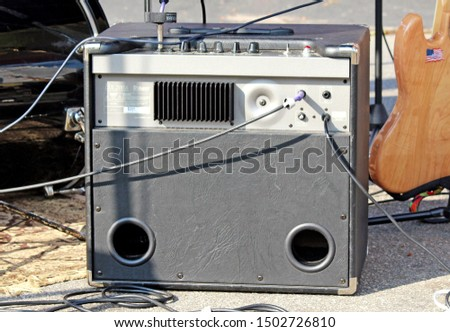 Santo André/SP/Brazil - 09-07-2014: Electric bass amplifiers mounted at a rock and roll performance in the city of Santo André - SP. Sound amplifiers seen from behind. #1502726810