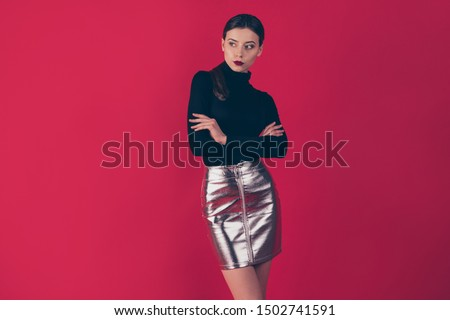 Portrait of charming pretty lady real boss executive look have thoughts about her partners on corporate party wear fashionable short mini outfit sliver pencil skirt isolated over red color background #1502741591