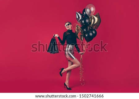 Full length body size view of nice attractive cheerful glad fascinating lady holding in hands bags air balls enjoying autumn fall sale isolated on maroon burgundy marsala red pastel color background #1502741666