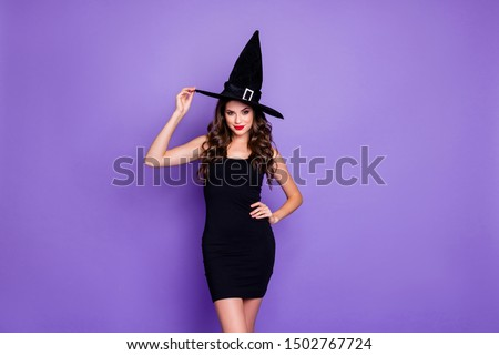 Trick-or-treat! Portrait of charming woman witch gothic creepy fantasy creature of darkness want spell magic scary people feel coquette wear mini dress isolated over violet color background #1502767724