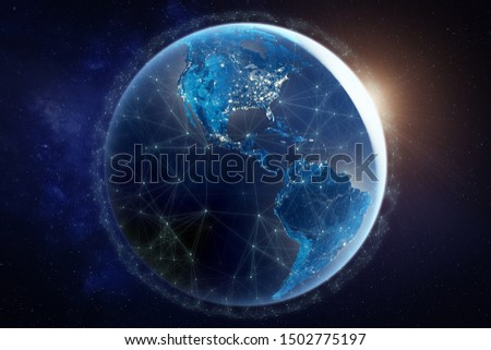 Internet network for fast data exchange over America from space, global telecommunication satellite around the world for IoT, mobile web, financial technology, 3d render, Earth elements from NASA Royalty-Free Stock Photo #1502775197