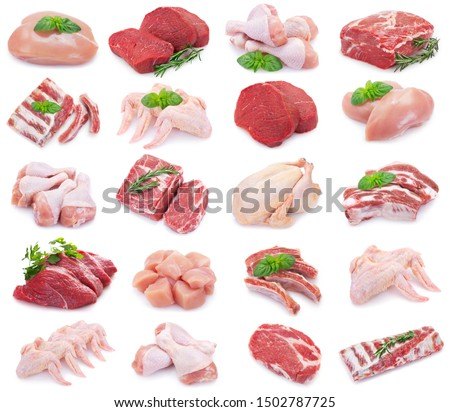 collection of raw meat isolated on white background #1502787725