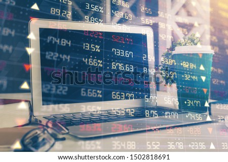 Forex market graph hologram and personal computer on background. Double exposure. Concept of investment. #1502818691