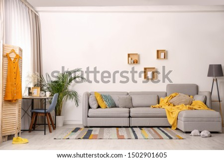 Modern living room interior with comfortable couch #1502901605