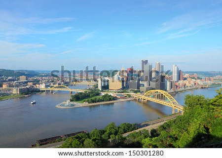 Pittsburgh, Pennsylvania - city in the United States. Skyline with Allegheny and Monongahela River. #150301280