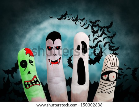 Painted finger monsters halloween: zombie, vampire, mummy, ghost