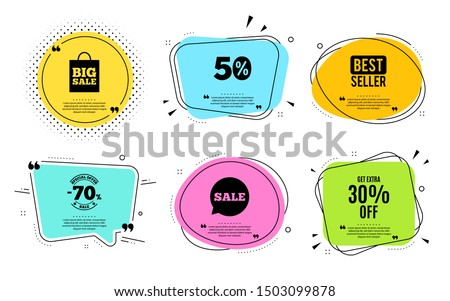 Get Extra 30% off Sale. Best seller, quote text. Discount offer price sign. Special offer symbol. Save 30 percentages. Quotation bubble. Banner badge, texting quote boxes. Extra discount text. Vector #1503099878