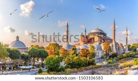 Beautiful view on Hagia Sophia in Istanbul, Turkey #1503106583