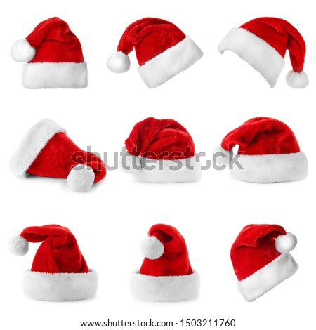 Set of red Santa Claus hats on white background #1503211760