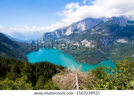 Aerial view of Molveno Lake,  an Alpine lake in Trentino, Italy #1503238925