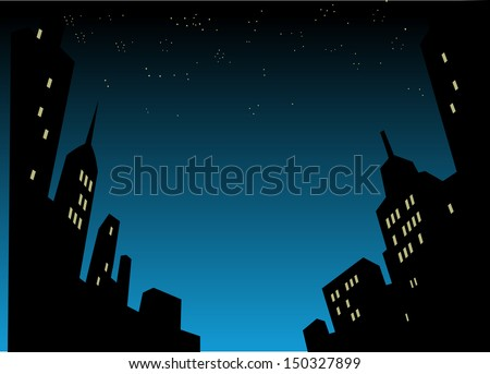 Graphic Style Cartoon Night City Skyline Background