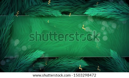 Merry Christmas and Happy New Year card with empty space for your text. Template with Christmas tree branches background for Christmas banner, poster, flyers, invitation, voucher, discount  #1503298472