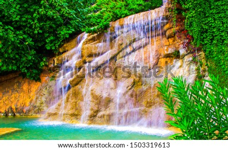 Tropical forest waterfall wall view. Forest waterfall pool. Tropical forest waterfall. Waterfall forest view #1503319613