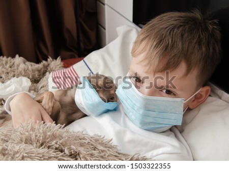 little sick child in a medical mask #1503322355