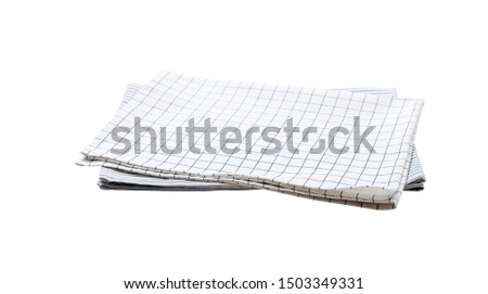 Napkin isolated on white. Multi-colored linen napkins for restaurant. Mock up for design. Top view square. #1503349331