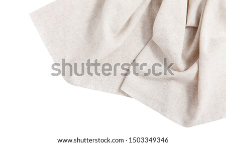 Napkin isolated on white. Multi-colored linen napkins for restaurant. Mock up for design. Top view square. #1503349346