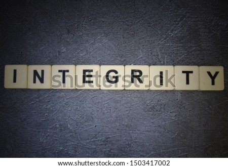 Integrity, word cube with background #1503417002