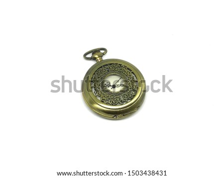 Pocket Watch gold vintage with white background. #1503438431