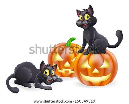 An illustration of cartoon Halloween black witch cats and Halloween pumpkins