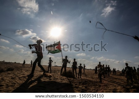 """Israeli forces intervene with Palestinian protestors during a """"Great March of Return"""" at Israel-Gaza border, east of Rafah in the southern Gaza Strip, on September 13, 2019. Photo by Abed Rahim Khatib #1503534110"""
