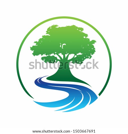 olive tree logo designs with creeks or rivers symbol Royalty-Free Stock Photo #1503667691