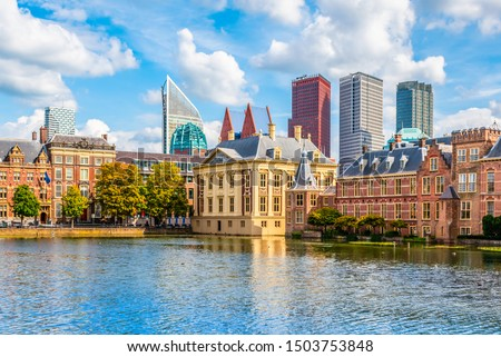 Skyline of the Hague, the Netherlands.	 #1503753848
