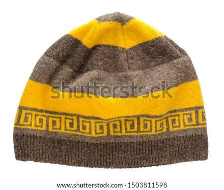 brown yelolow hat isolated on white background .knitted hat front top  view . #1503811598