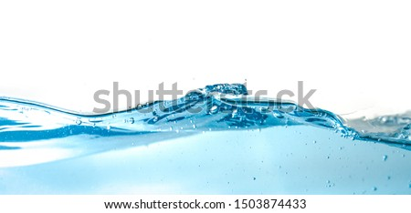 Water Wave bubbles air and splash isolated over white background. Blue water wave abstract background isolated on white #1503874433
