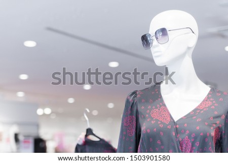 Dummy with glasses and fashion wear.Billboard picture with copy space. #1503901580