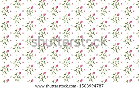 Pink Hosta Flower and Dots Pattern Background #1503994787