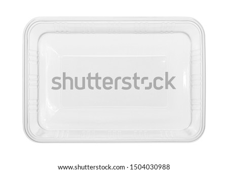 Plastic food box disposable top view (with clipping path) isolated on white background #1504030988