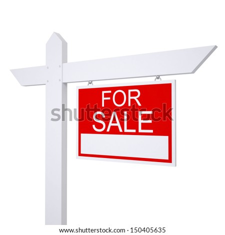 Real estate for sale sign. Isolated render on white background #150405635
