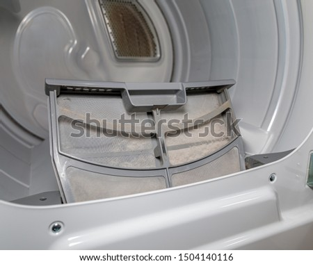 Clothes dryer vent lint trap, screen, or filter clogged with lint and fiber  #1504140116
