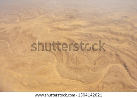 Aerial view of Libyan Desert - the northern and eastern part of the Sahara Desert near Cairo, Egypt #1504142021